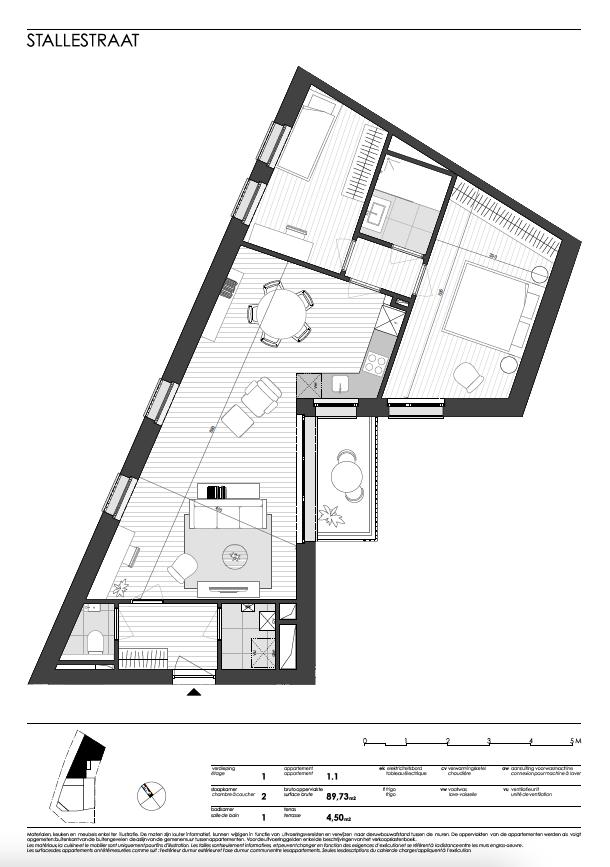Ukkel: appartement 1 (eerste verdieping)