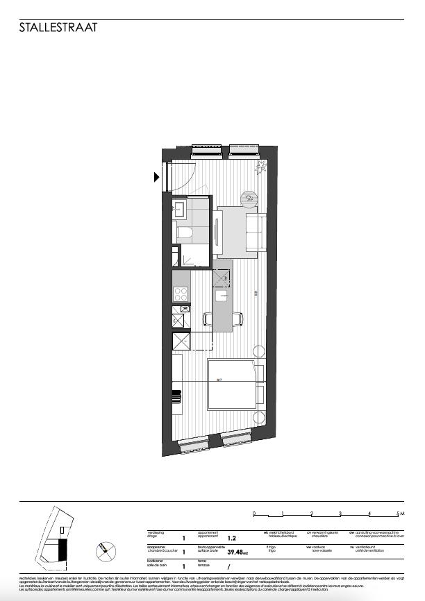 Ukkel: appartement 2 (eerste verdieping)