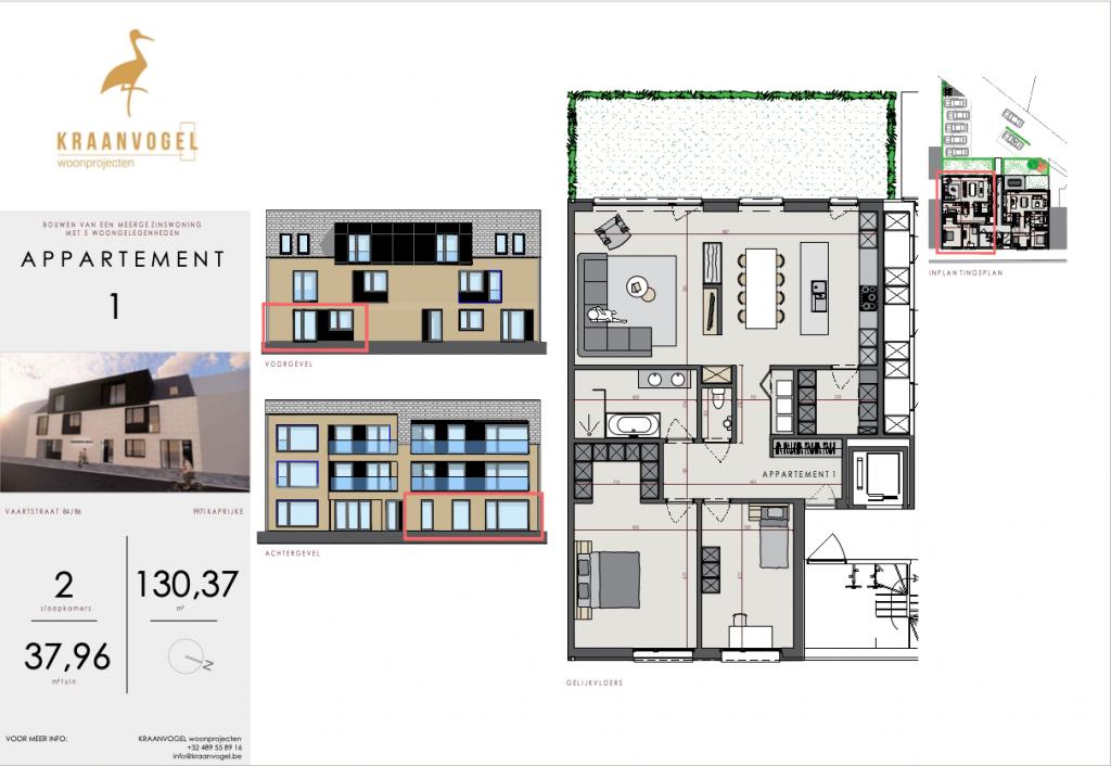 Residentie Axelle Kaprijke: appartement 1 (gelijkvloers)