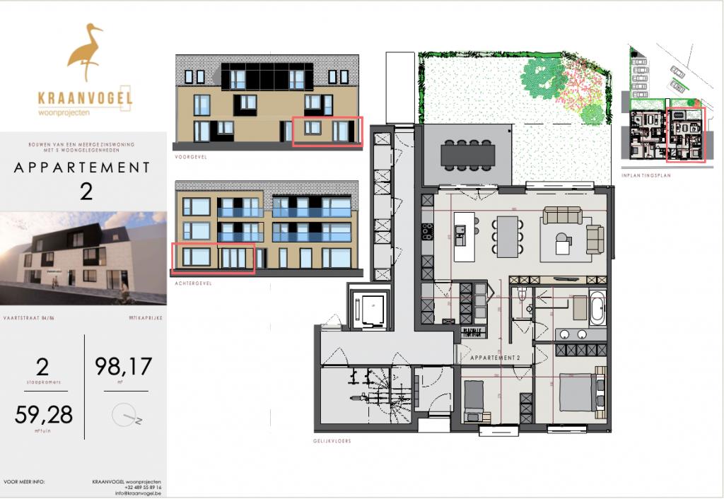 Residentie Axelle Kaprijke: appartement 2 (gelijkvloers)