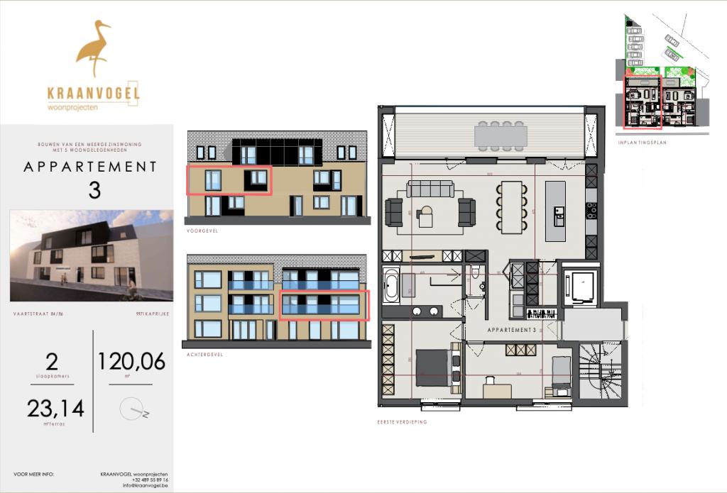Residentie Axelle Kaprijke: appartement 3 (eerste verdieping)