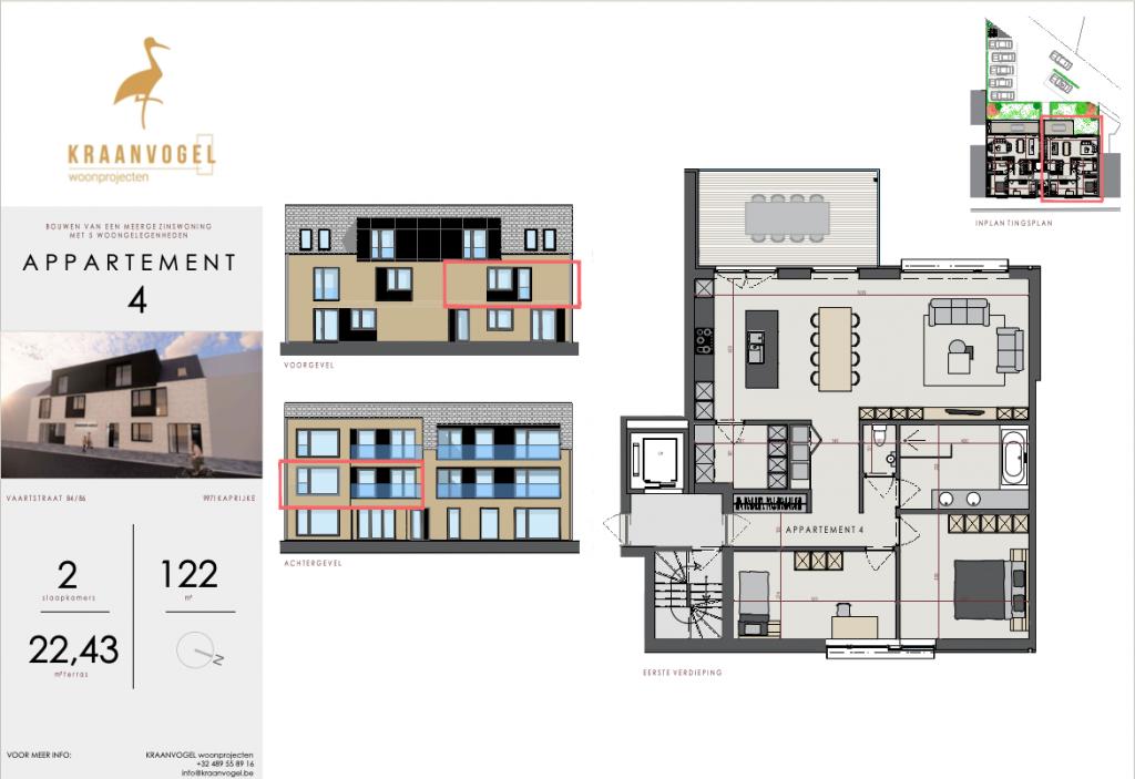 Residentie Axelle Kaprijke: appartement 4 (eerste verdieping)