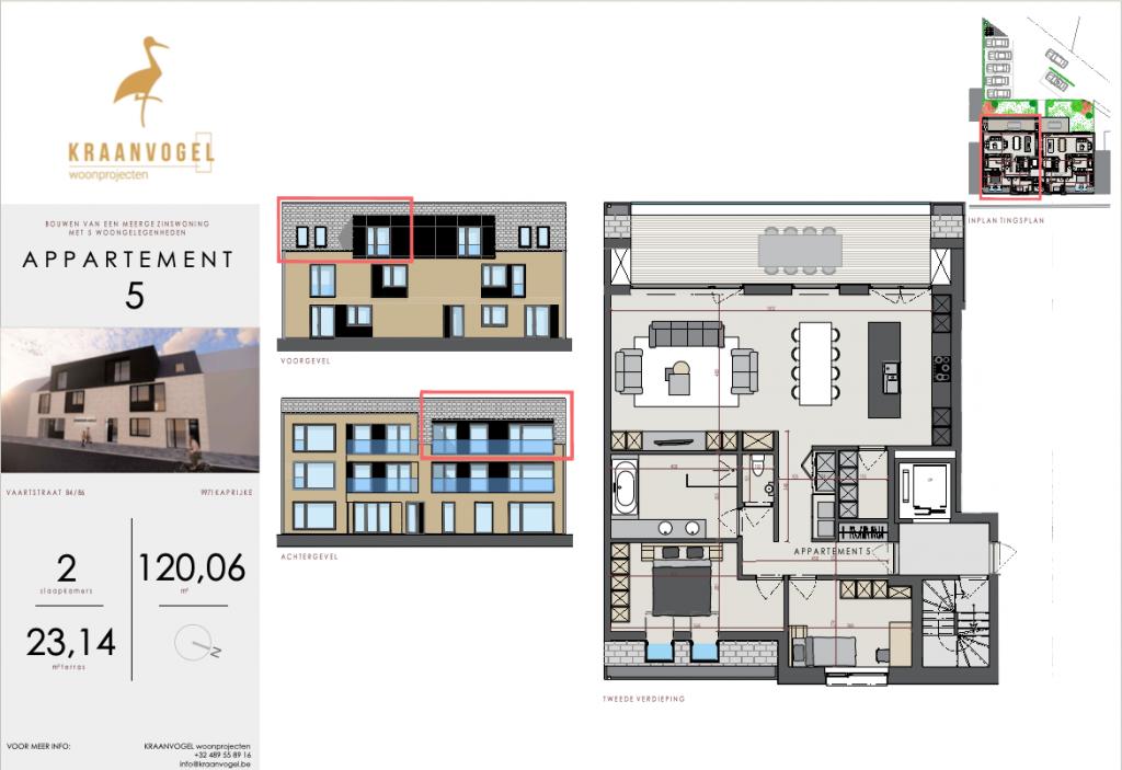 Residentie Axelle Kaprijke: appartement 5 (tweede verdieping)