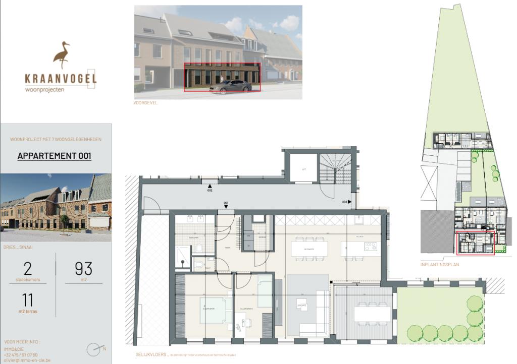 Residentie Den Dries Sinaai: appartement 1 (gelijkvloers)