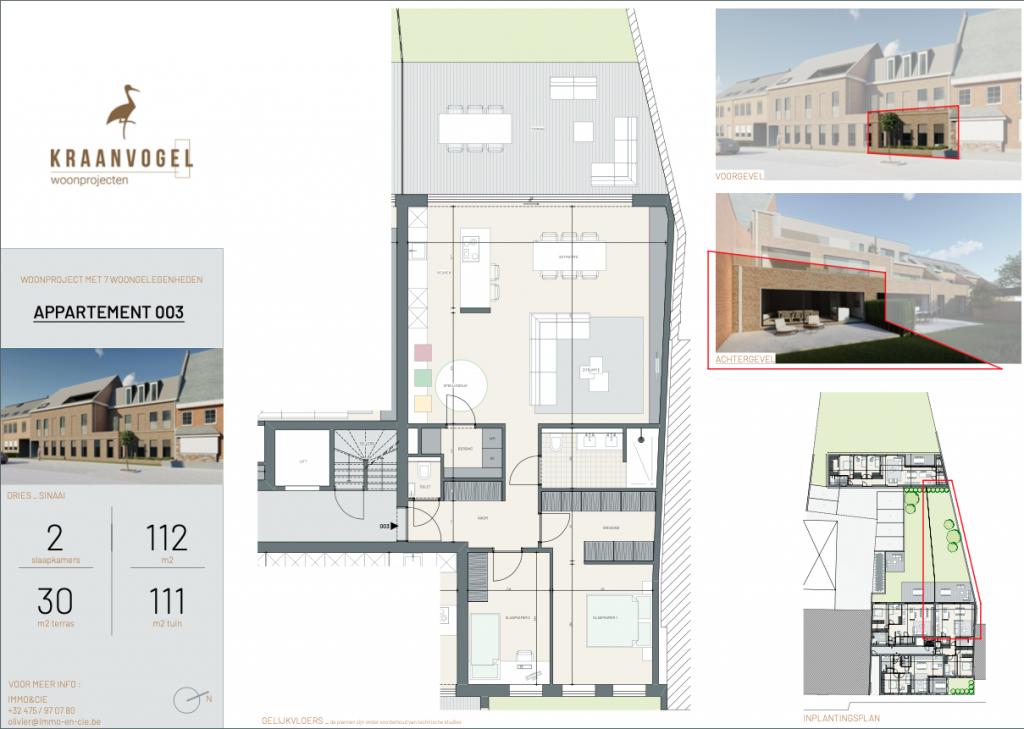 Residentie Den Dries Sinaai: appartement 3 (gelijkvloers)