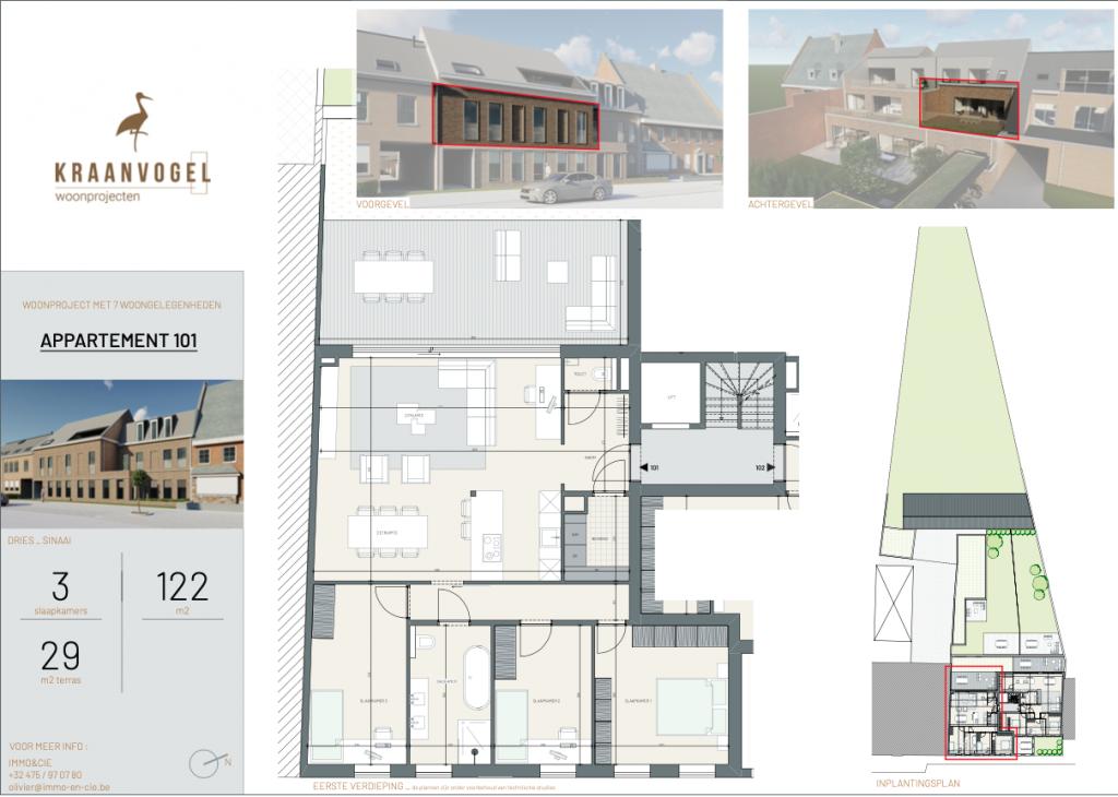 Residentie Den Dries Sinaai: appartement 1 (eerste verdieping)