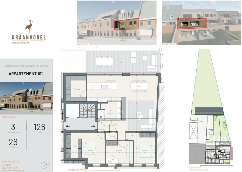 Residentie Den Dries Sinaai: appartement 2 (eerste verdieping)