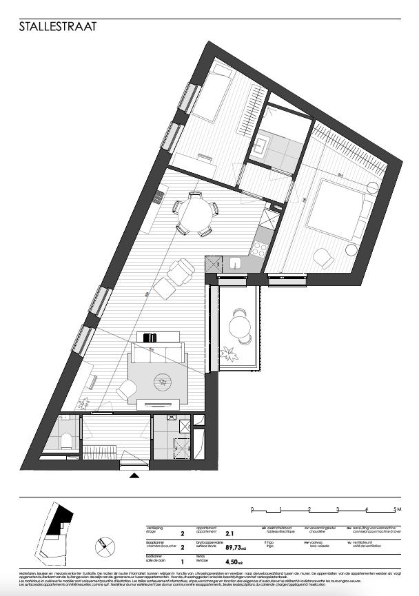 Ukkel: appartement 1 (tweede verdieping)