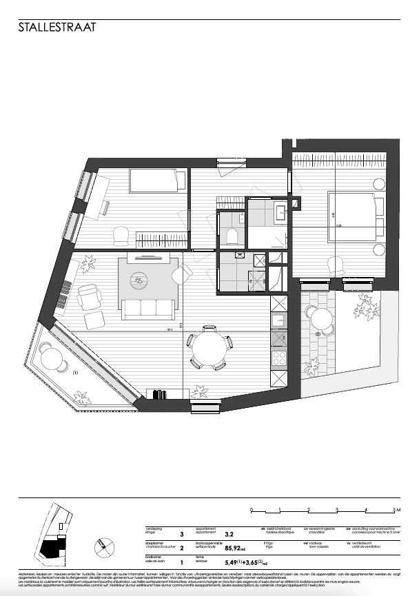 Ukkel: appartement 2 (derde verdieping)