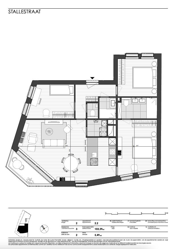 Ukkel: appartement 2 (tweede verdieping)