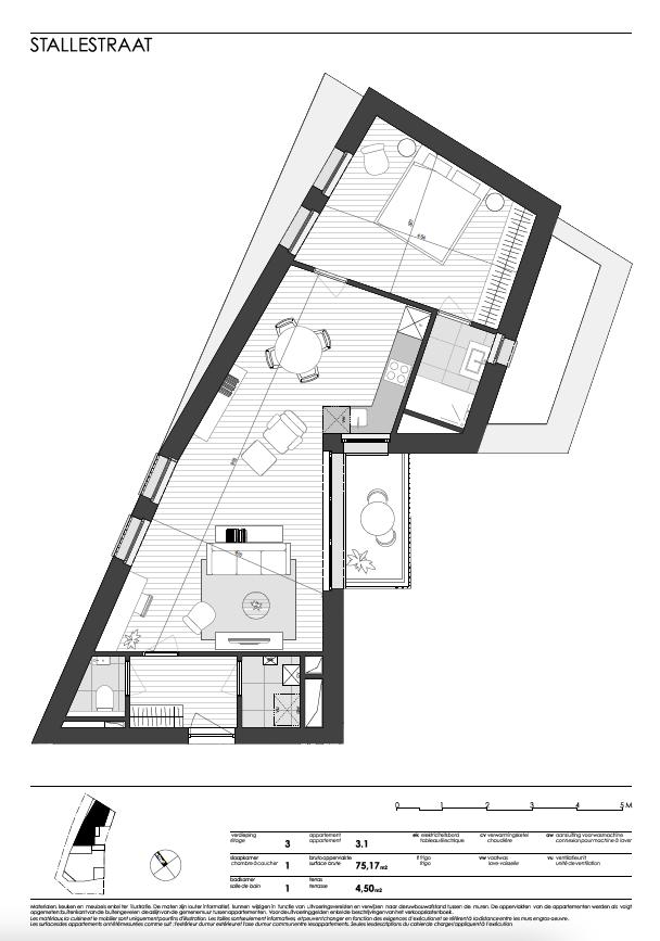 Ukkel: appartement 1 (derde verdieping)