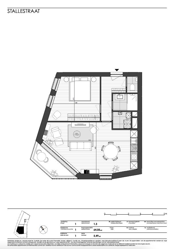 Ukkel: appartement 3 (eerste verdieping)